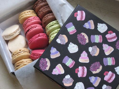 Box and macarons