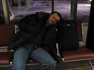 Snoozing at the airport
